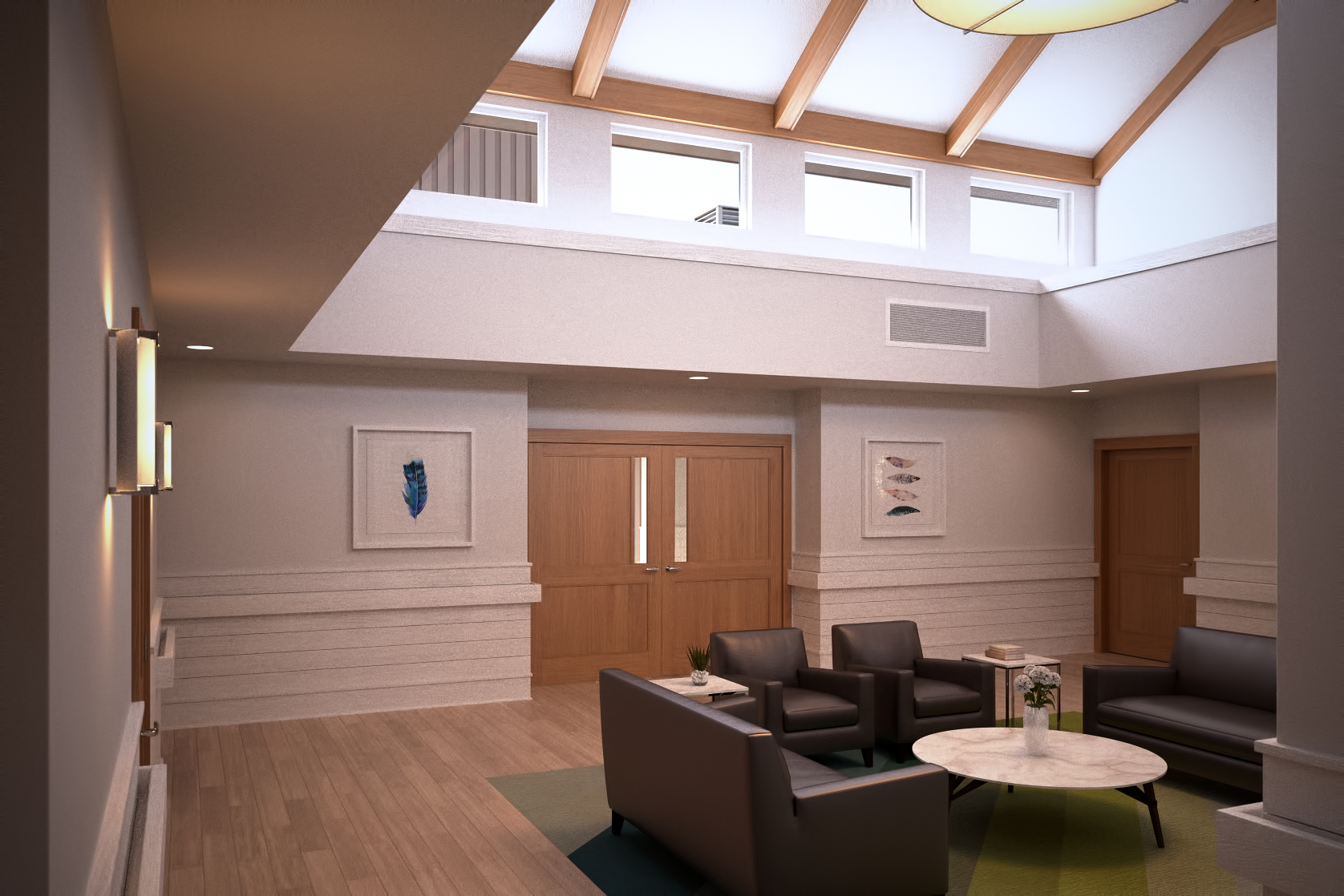 The living areas are placed inside the main areas of egress.  This was an intentional decision to create a feeling of life happening in the midst of a hospice environment while also encouraging camardarie among families and friends.